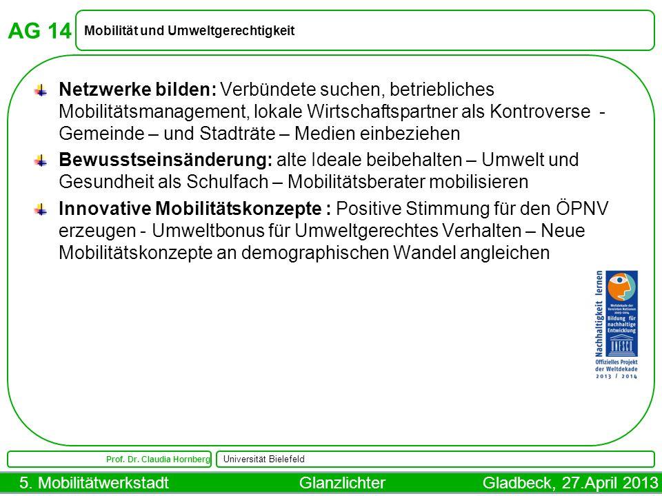AG 14 Mobilität und Umweltgerechtigkeit.