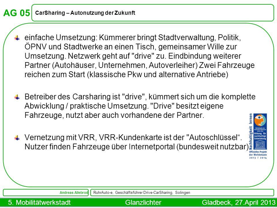 AG 05 CarSharing – Autonutzung der Zukunft.