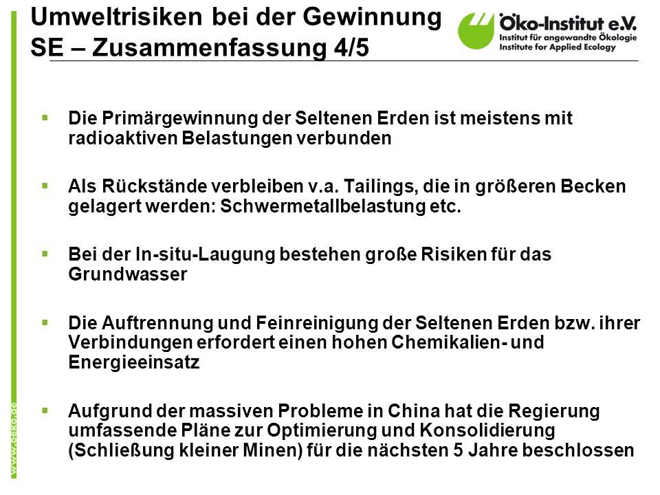 Umweltrisiken bei der Gewinnung SE – Zusammenfassung 4/5