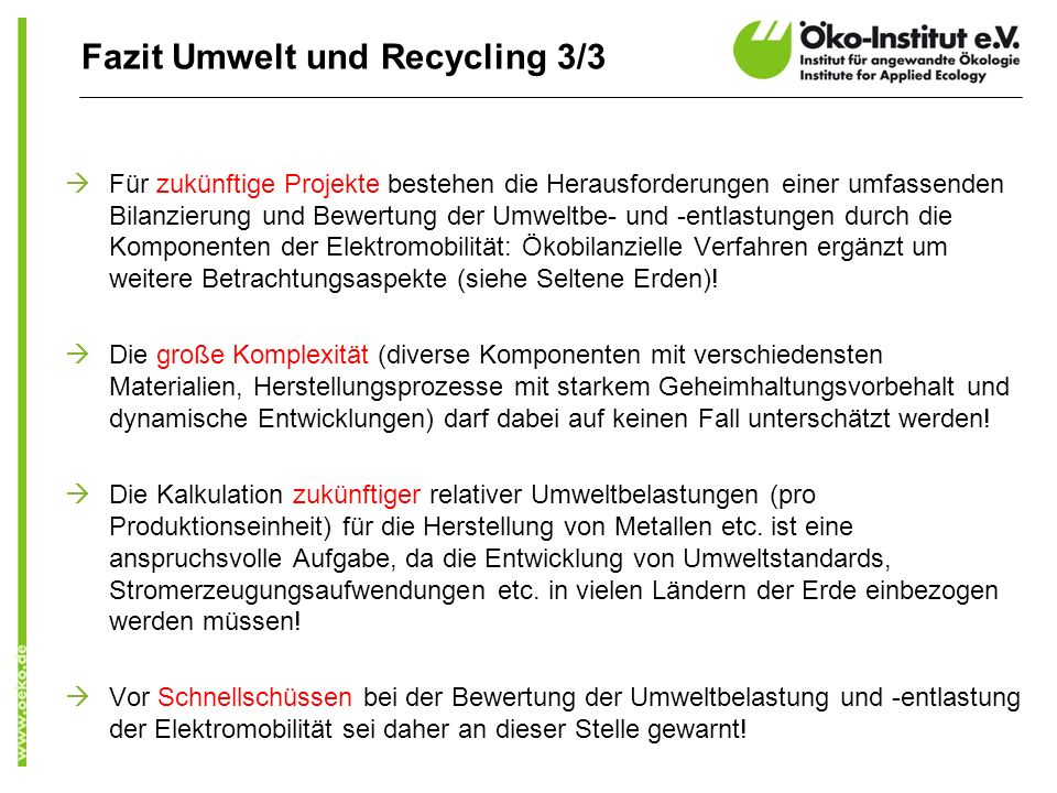 Fazit Umwelt und Recycling 3/3