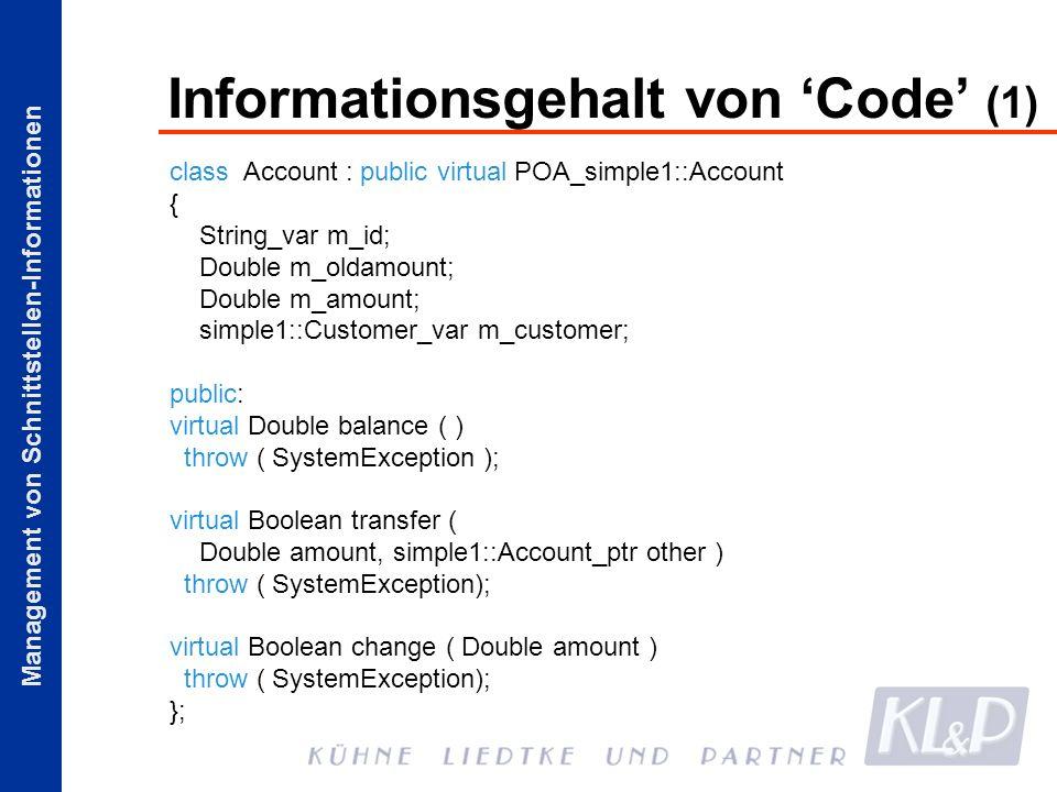 Informationsgehalt von 'Code' (1)