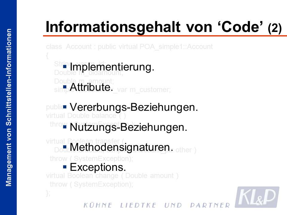 Informationsgehalt von 'Code' (2)