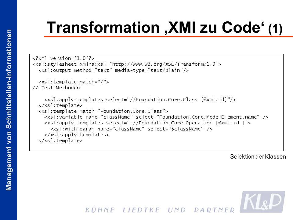 Transformation 'XMI zu Code' (1)