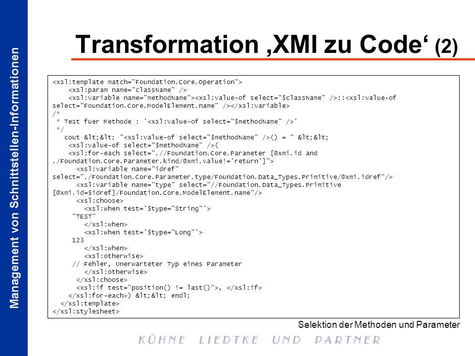 Transformation 'XMI zu Code' (2)