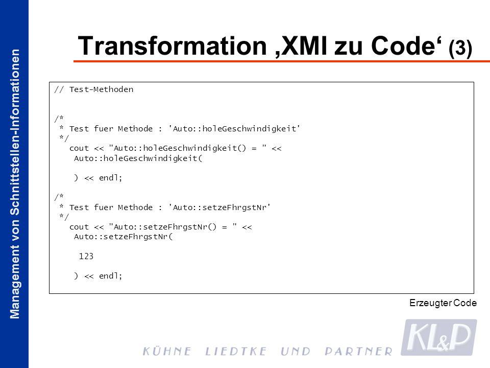Transformation 'XMI zu Code' (3)
