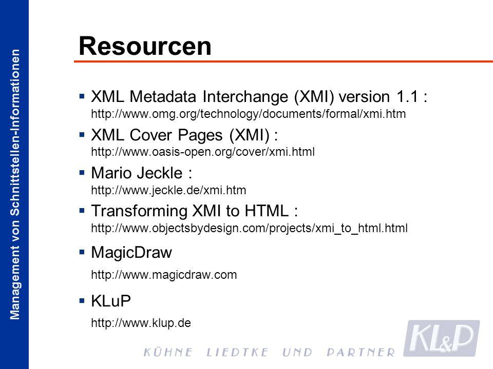 ResourcenXML Metadata Interchange (XMI) version 1.1 : http://www.omg.org/technology/documents/formal/xmi.htm.