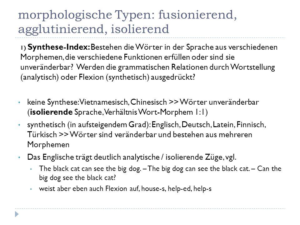 morphologische Typen: fusionierend, agglutinierend, isolierend