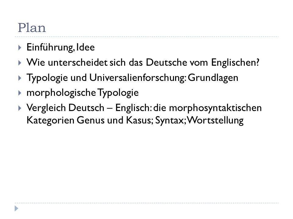 Plan Einführung, Idee. Wie unterscheidet sich das Deutsche vom Englischen Typologie und Universalienforschung: Grundlagen.