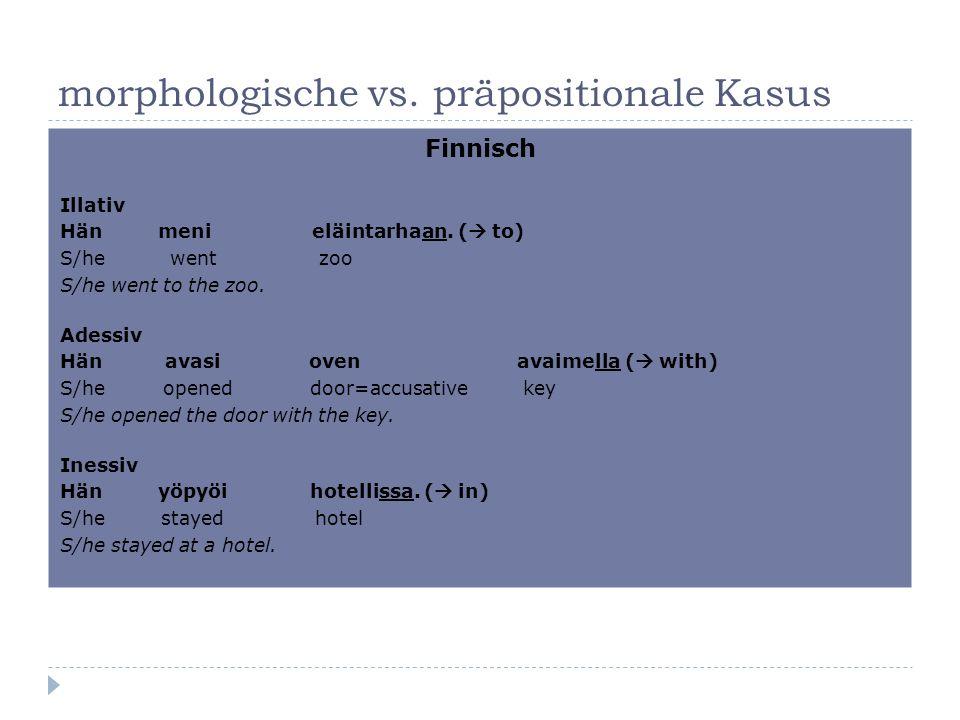morphologische vs. präpositionale Kasus