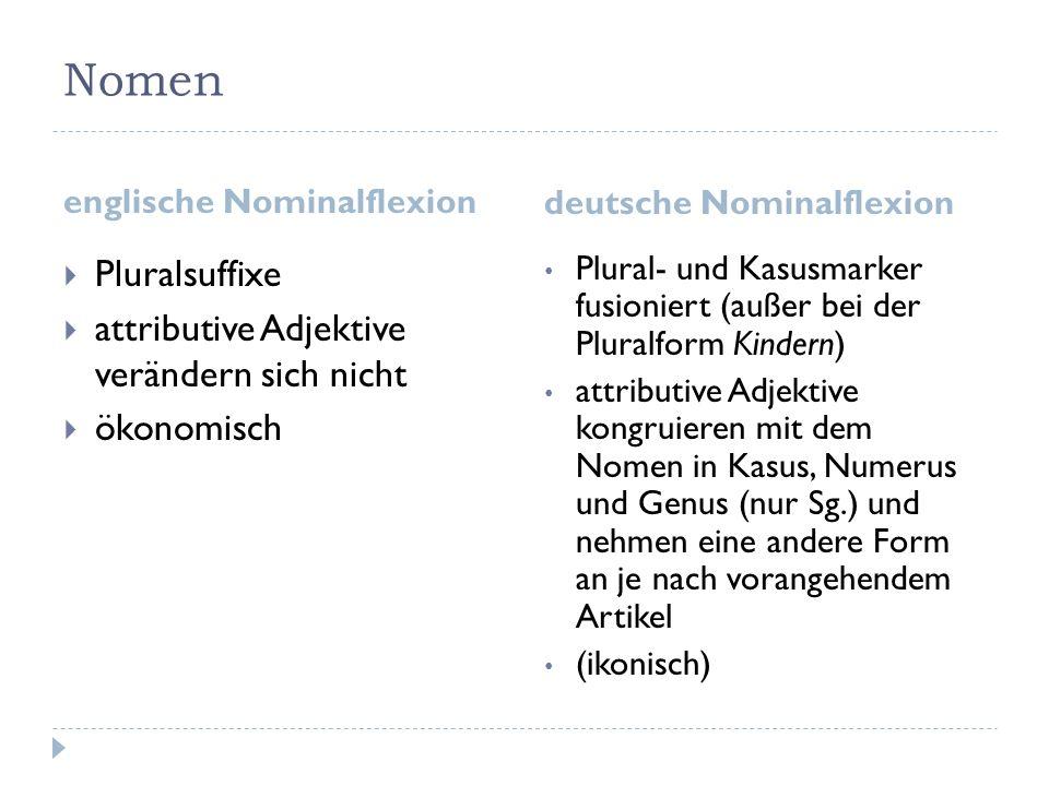 Nomen Pluralsuffixe attributive Adjektive verändern sich nicht