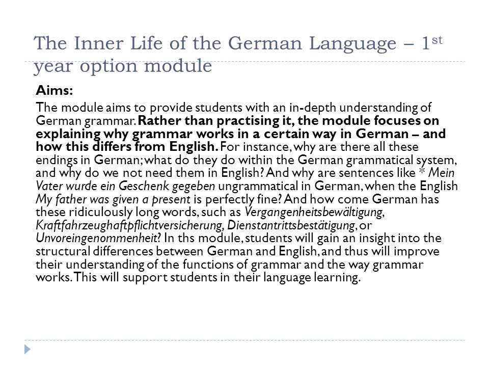 The Inner Life of the German Language – 1st year option module