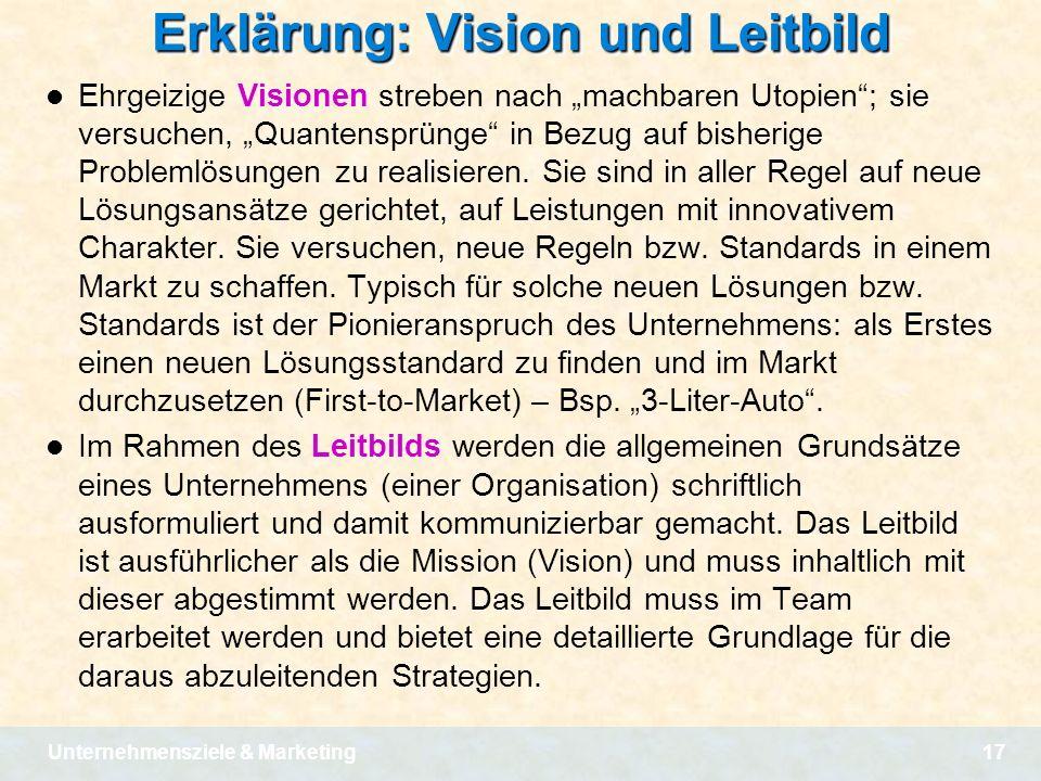 Erklärung: Vision und Leitbild