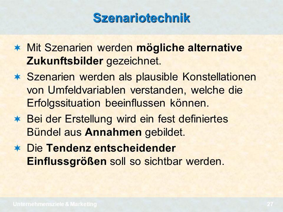 Szenariotechnik Mit Szenarien werden mögliche alternative Zukunftsbilder gezeichnet.