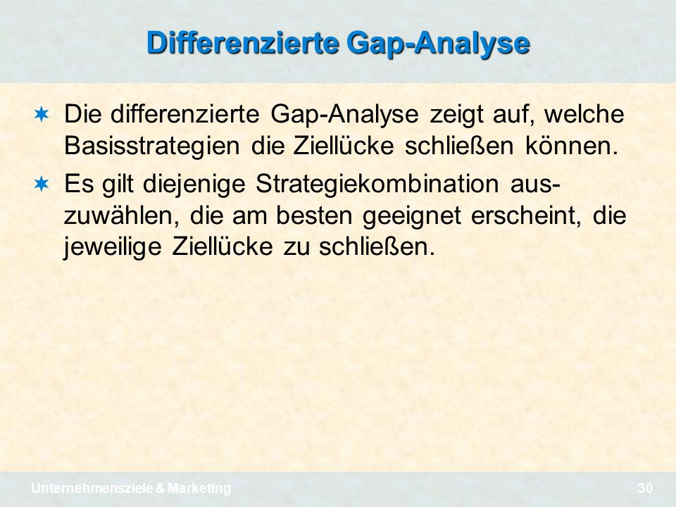 Differenzierte Gap-Analyse