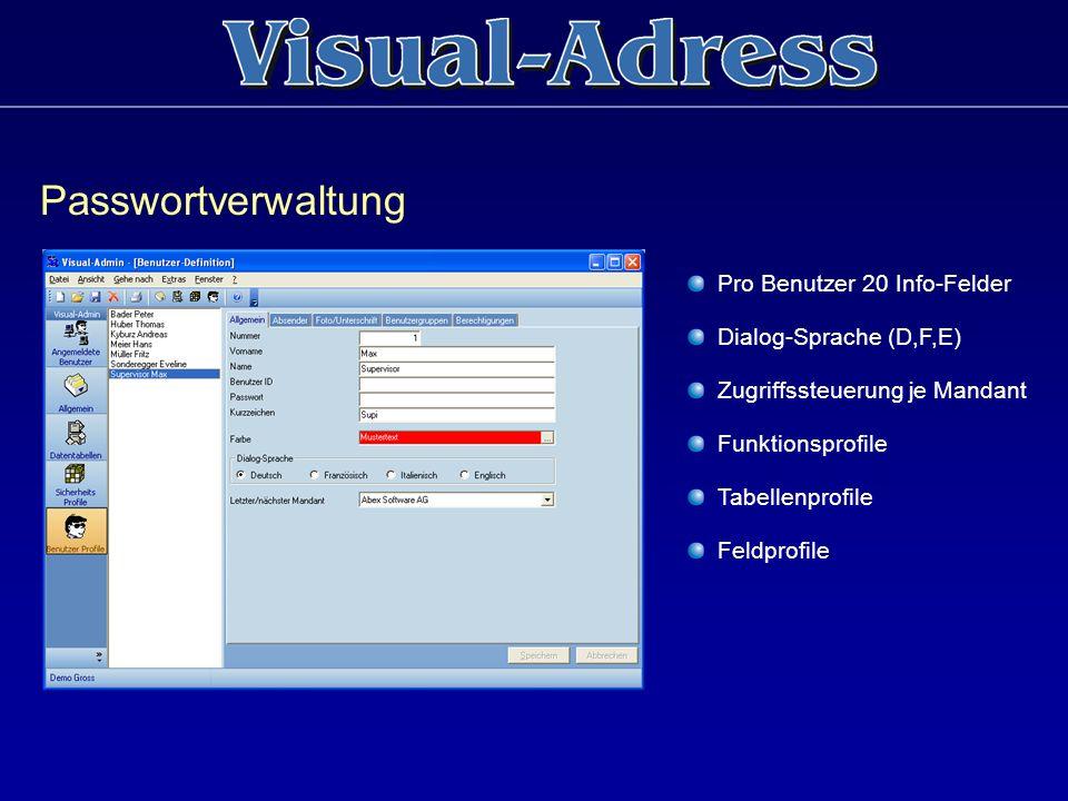 Passwortverwaltung Pro Benutzer 20 Info-Felder Dialog-Sprache (D,F,E)