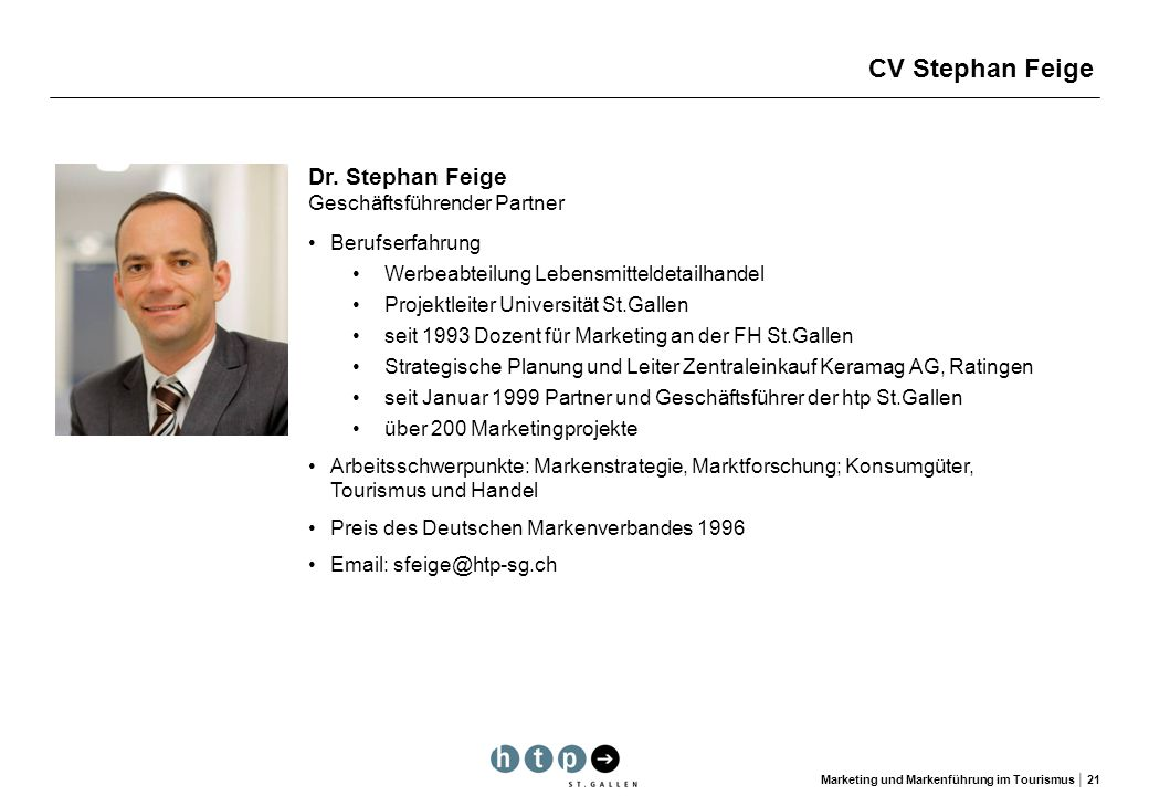CV Stephan Feige Dr. Stephan Feige Geschäftsführender Partner