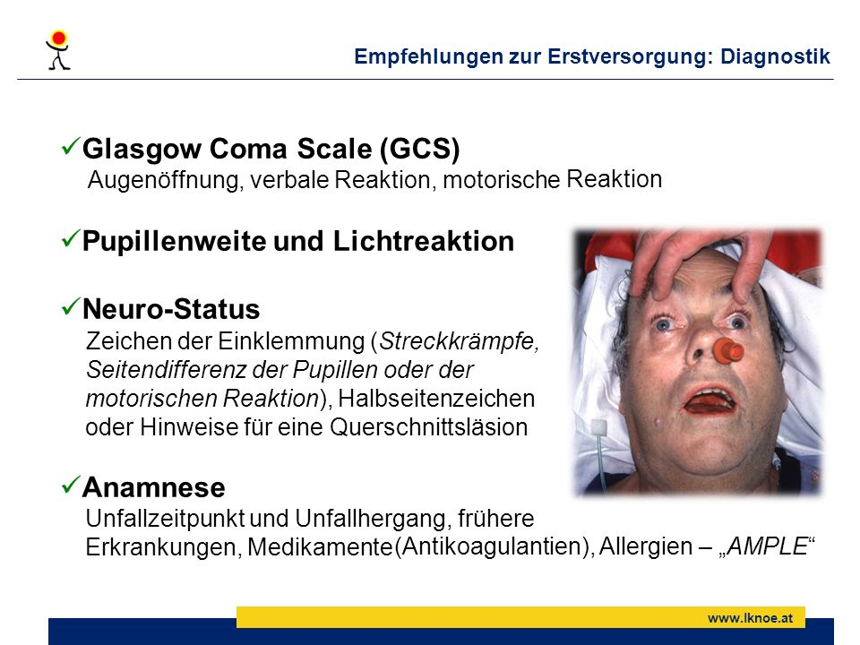 Empfehlungen zur Erstversorgung: Diagnostik