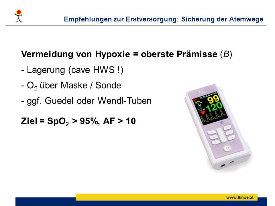 Empfehlungen zur Erstversorgung: Sicherung der Atemwege