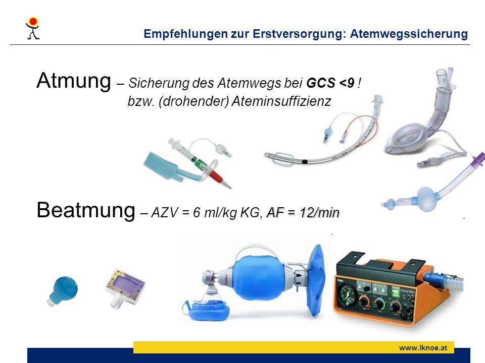 Empfehlungen zur Erstversorgung: Atemwegssicherung