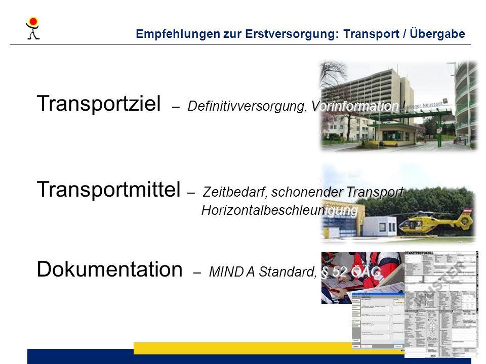 Empfehlungen zur Erstversorgung: Transport / Übergabe