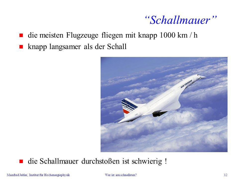Schallmauer die meisten Flugzeuge fliegen mit knapp 1000 km / h