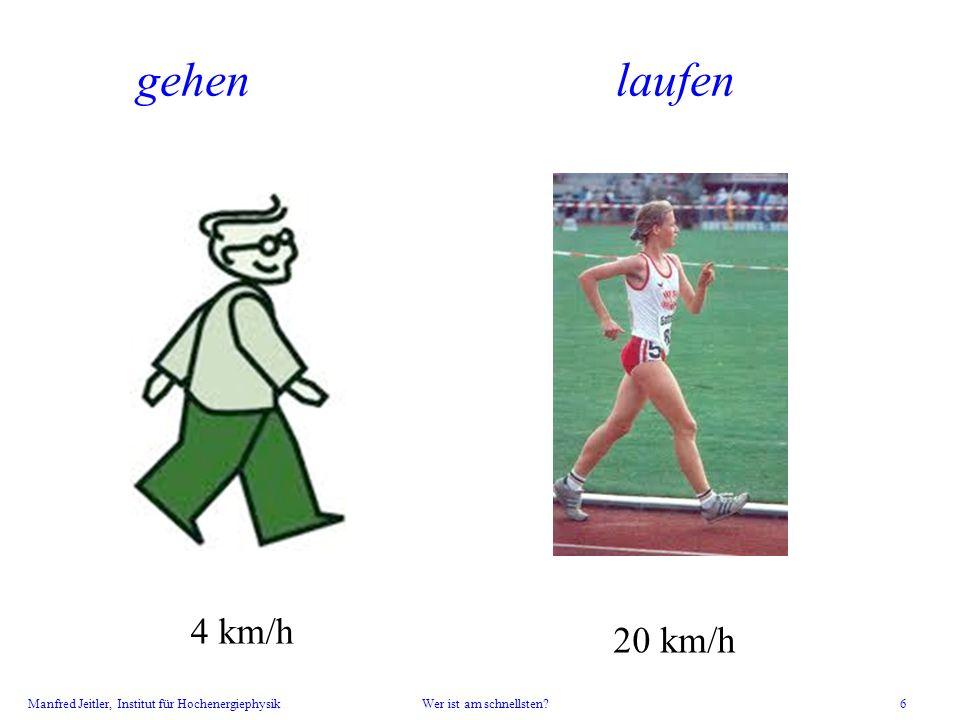 gehen laufen Kinder gehen, laufen lassen, mit der Uhr stoppen; dann erst die Zahlen zeigen. 4 km/h.