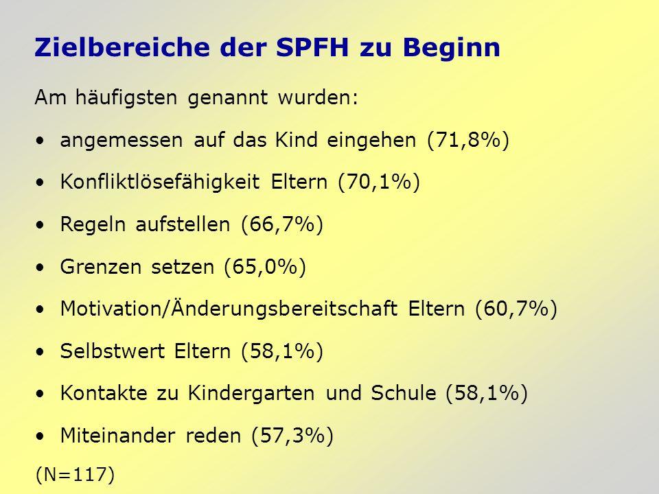 Zielbereiche der SPFH zu Beginn