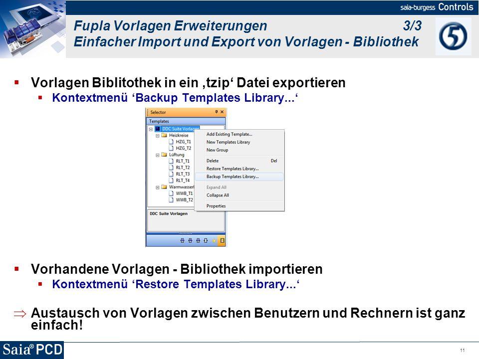 Vorlagen Biblitothek in ein 'tzip' Datei exportieren