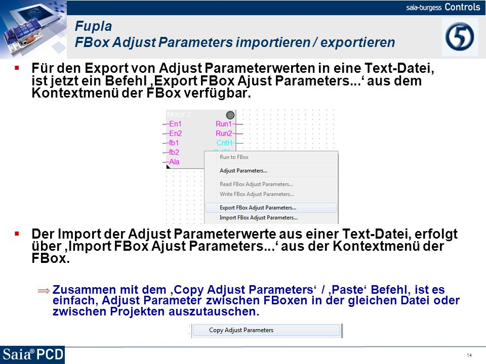 Fupla FBox Adjust Parameters importieren / exportieren