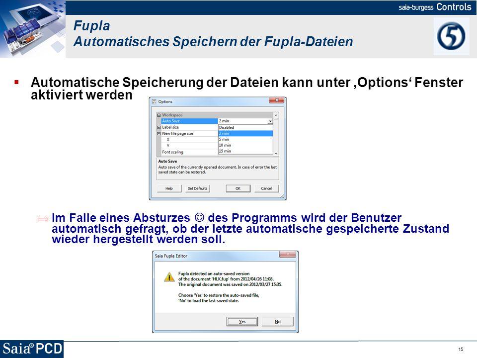 Fupla Automatisches Speichern der Fupla-Dateien