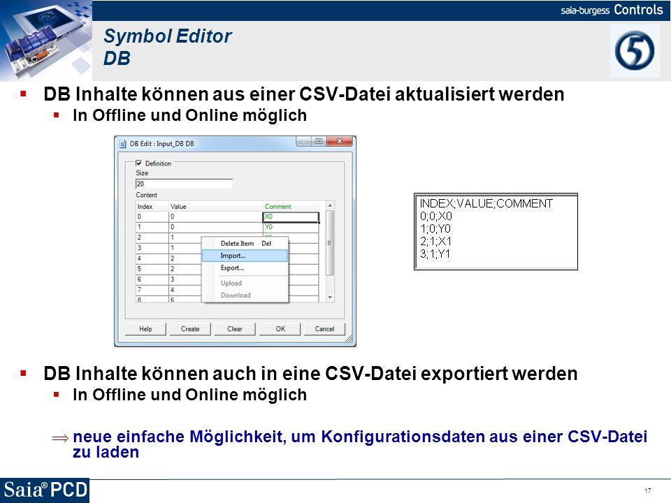 DB Inhalte können aus einer CSV-Datei aktualisiert werden