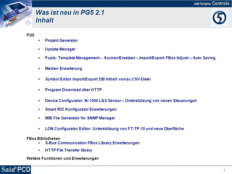 Was ist neu in PG5 2.1 Inhalt PG5 Projekt Generator Update Manager