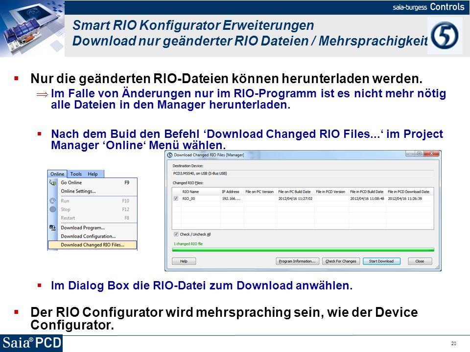 Nur die geänderten RIO-Dateien können herunterladen werden.