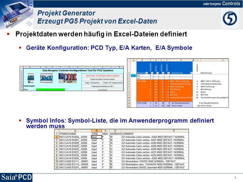 Projekt Generator Erzeugt PG5 Projekt von Excel-Daten