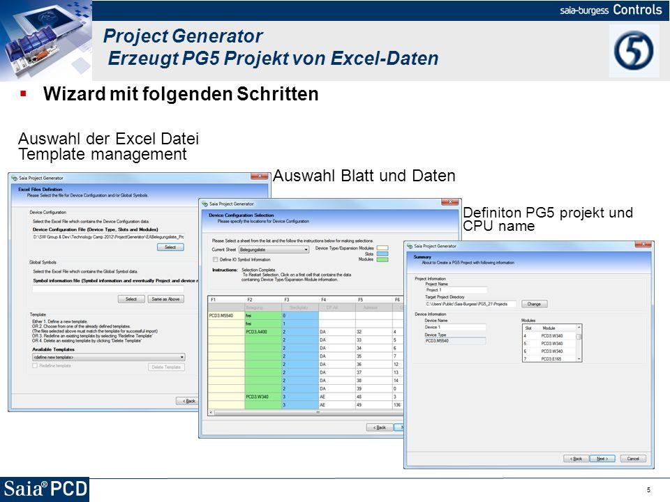 Project Generator Erzeugt PG5 Projekt von Excel-Daten