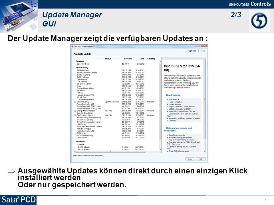 Der Update Manager zeigt die verfügbaren Updates an :