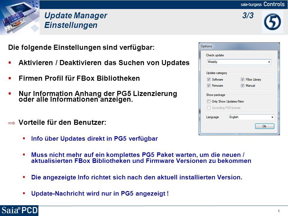 Update Manager 3/3 Einstellungen