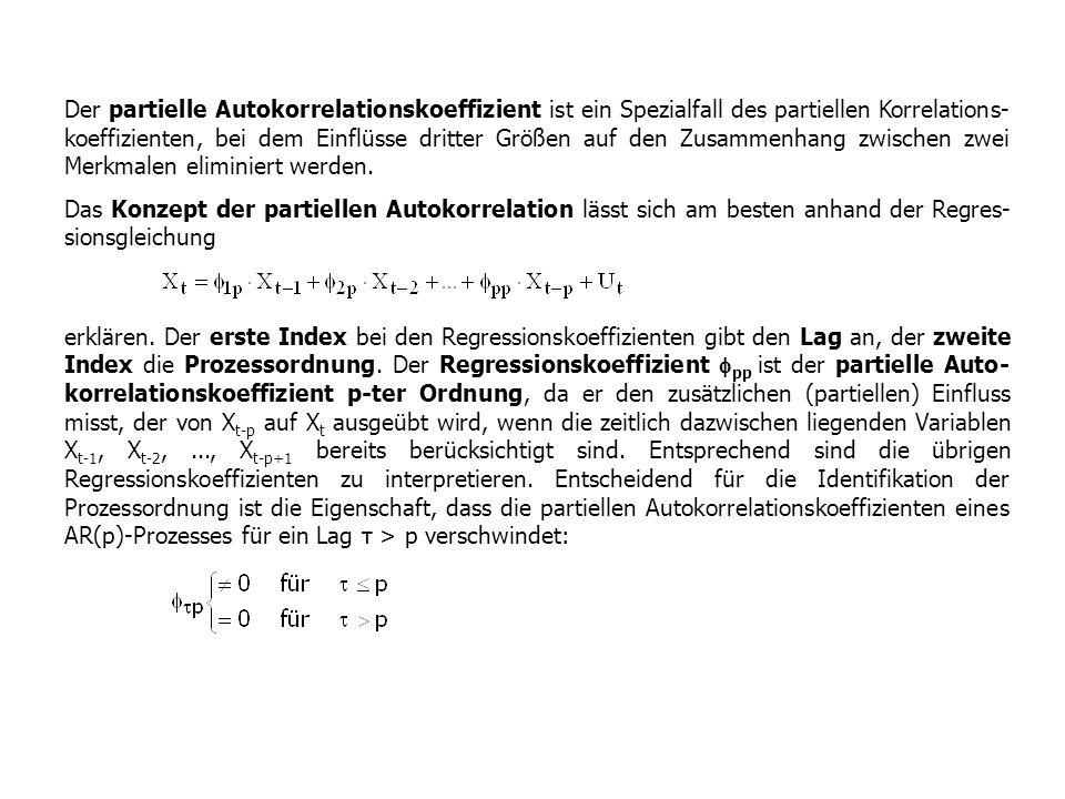 Der partielle Autokorrelationskoeffizient ist ein Spezialfall des partiellen Korrelations-koeffizienten, bei dem Einflüsse dritter Größen auf den Zusammenhang zwischen zwei Merkmalen eliminiert werden.