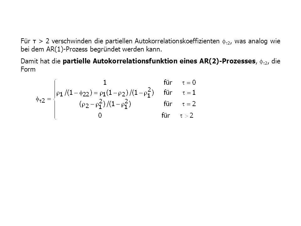Für τ > 2 verschwinden die partiellen Autokorrelationskoeffizienten 2, was analog wie bei dem AR(1)-Prozess begründet werden kann.