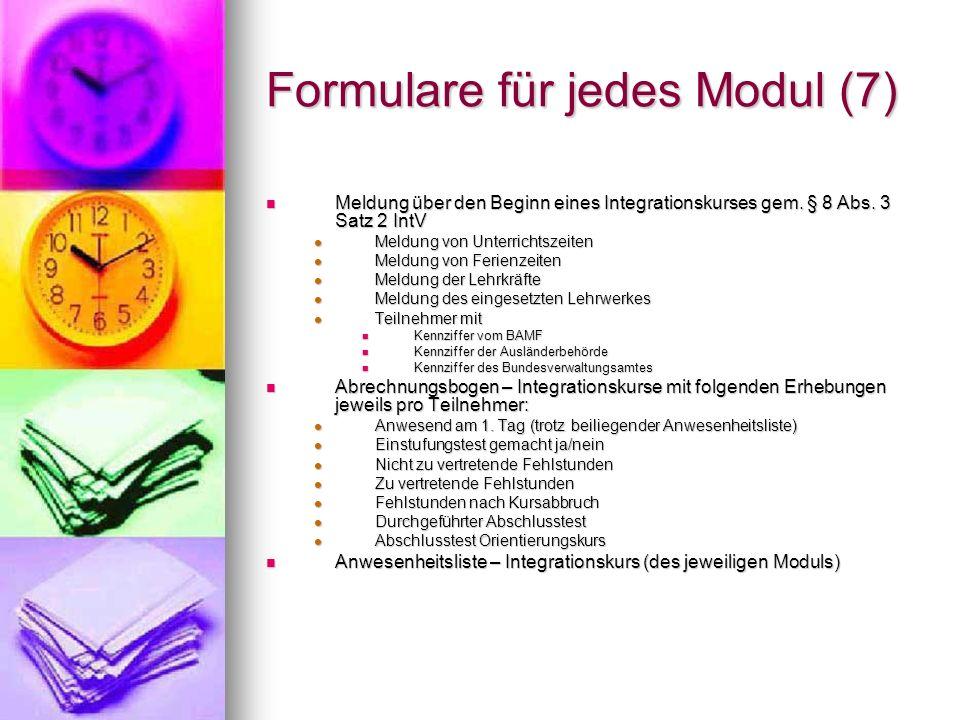Formulare für jedes Modul (7)