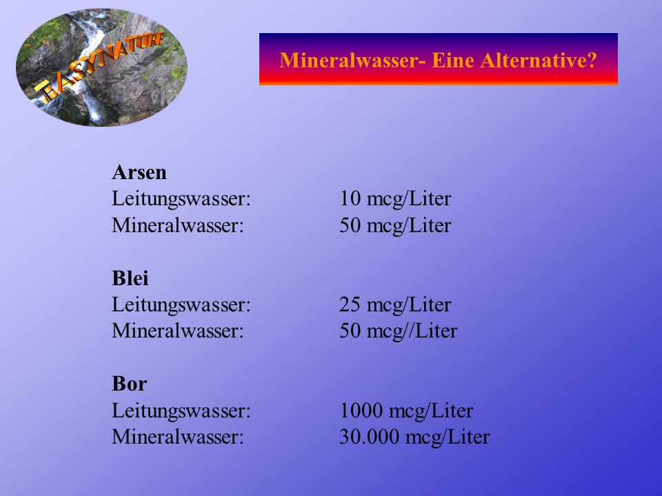 Mineralwasser- Eine Alternative