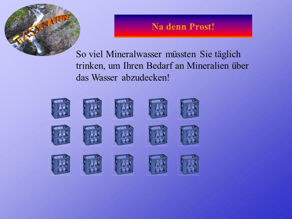 Na denn Prost!So viel Mineralwasser müssten Sie täglich trinken, um Ihren Bedarf an Mineralien über das Wasser abzudecken!