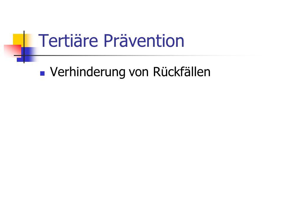 Tertiäre Prävention Verhinderung von Rückfällen