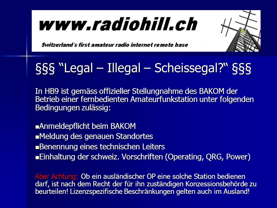 §§§ Legal – Illegal – Scheissegal §§§