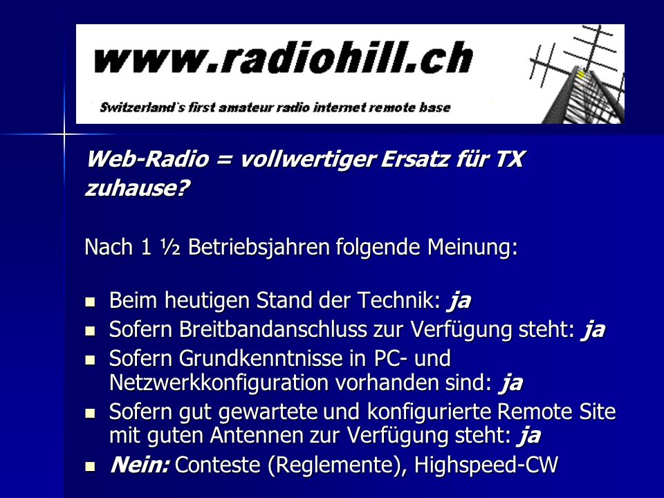 Web-Radio = vollwertiger Ersatz für TX