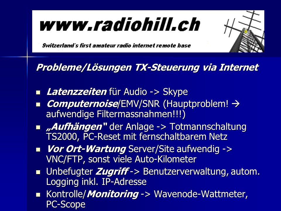Probleme/Lösungen TX-Steuerung via Internet