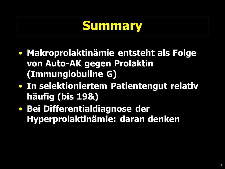 Summary Makroprolaktinämie entsteht als Folge von Auto-AK gegen Prolaktin (Immunglobuline G)