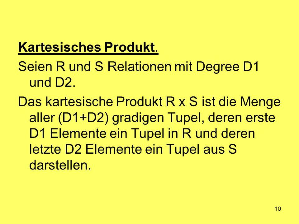 Kartesisches Produkt. Seien R und S Relationen mit Degree D1 und D2.