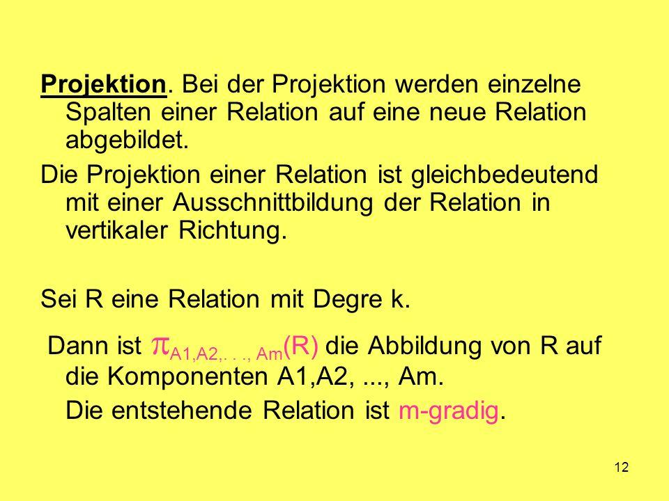 Projektion. Bei der Projektion werden einzelne Spalten einer Relation auf eine neue Relation abgebildet.