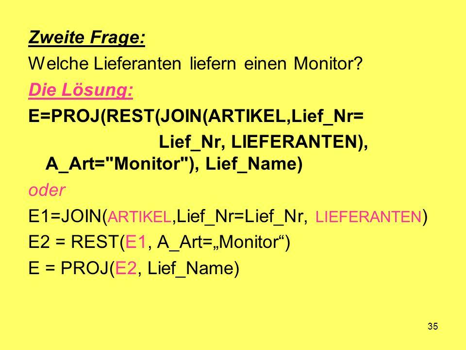 Zweite Frage: Welche Lieferanten liefern einen Monitor Die Lösung: E=PROJ(REST(JOIN(ARTIKEL,Lief_Nr=